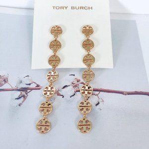 Tory Burch Gold Long Cutout Earrings